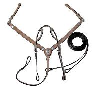 2 ear western Bridle and breastplate set Tan leather 7 web
